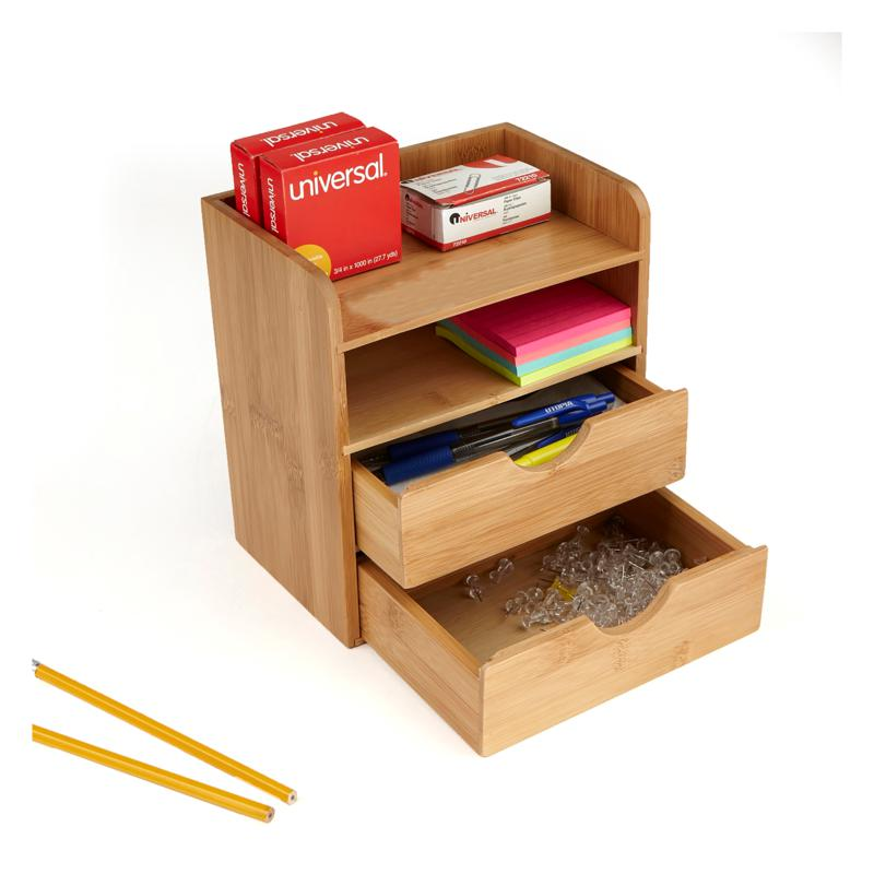 Mind Reader Bamboo 4-Tier Desk Organizer with 2 Drawers - Brown