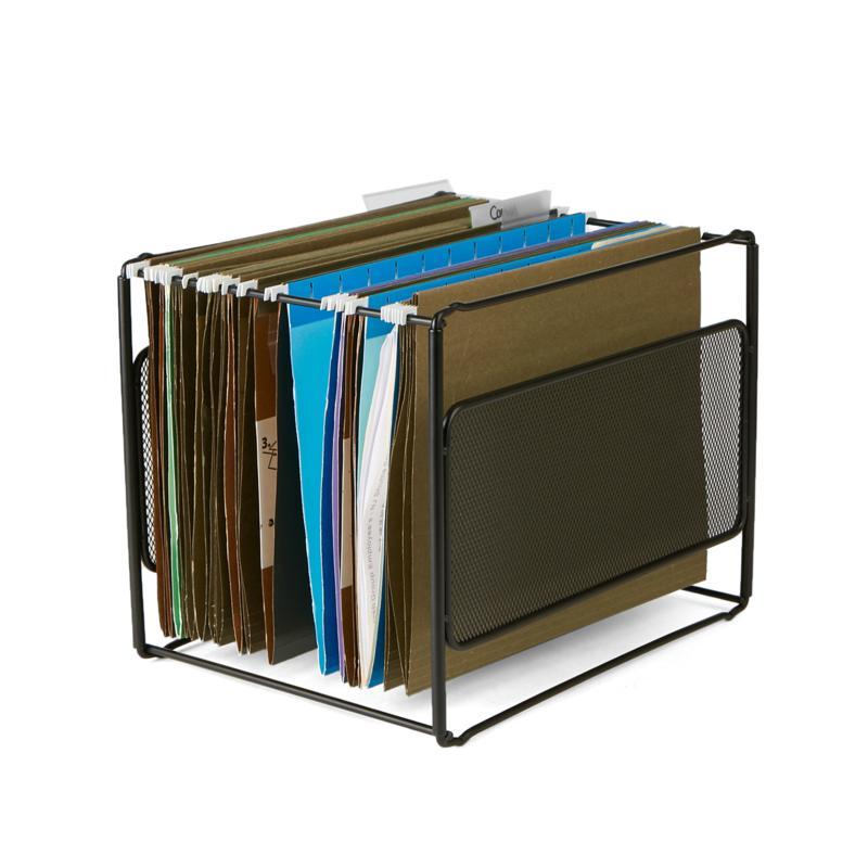 Mind Reader Metal Mesh Hanging Folder File Organizer - Black