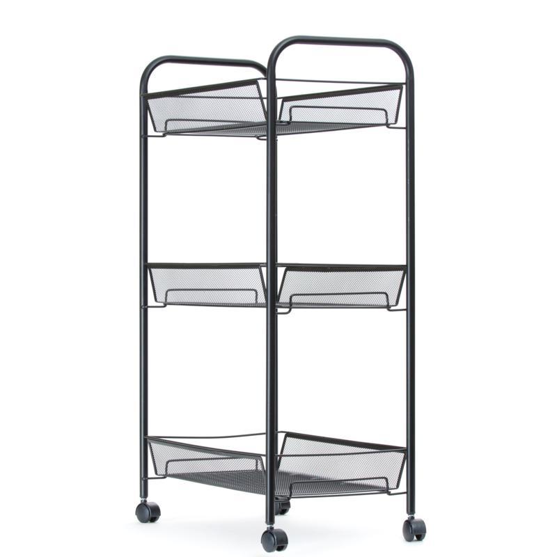 Mind Reader Rolling Metal Mesh 3-Shelf Cart - Black