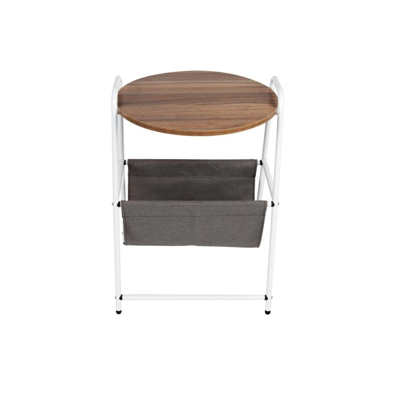 Mind Reader Round Side Table with Fabric Storage Pocket