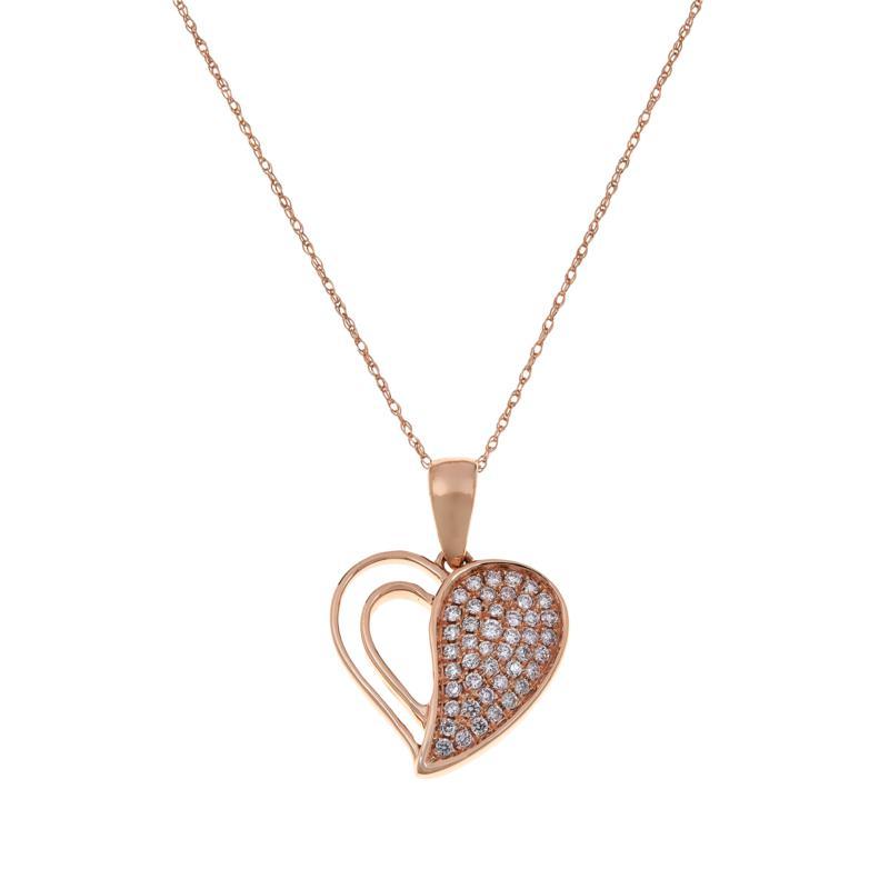 Modani Jewels 14K Rose Gold .30ctw Pink Diamond Heart Pendant w/Chain