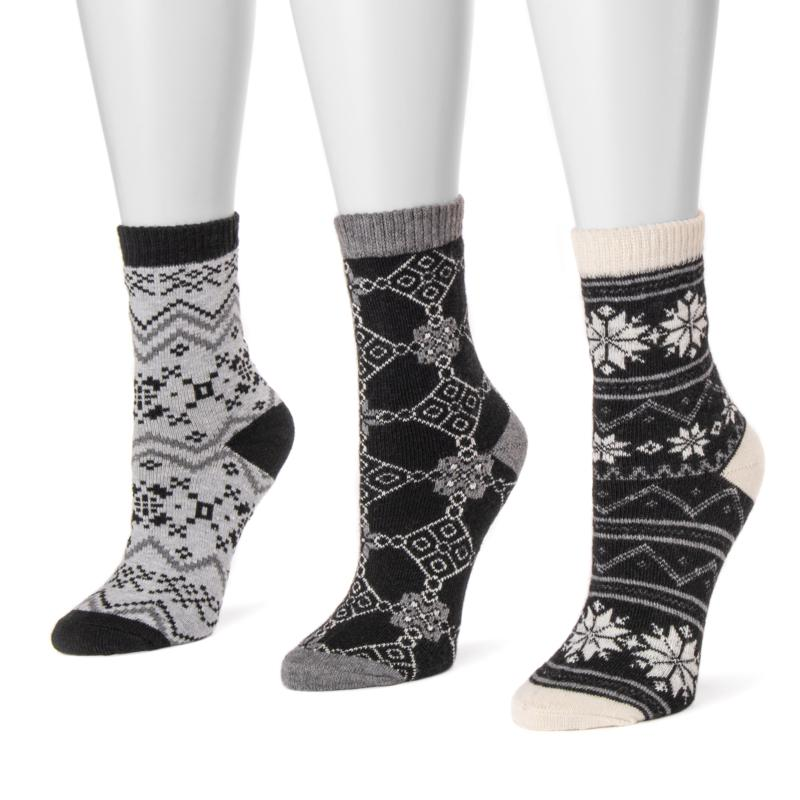 MUK LUKS 3-pair Holiday Boot Socks