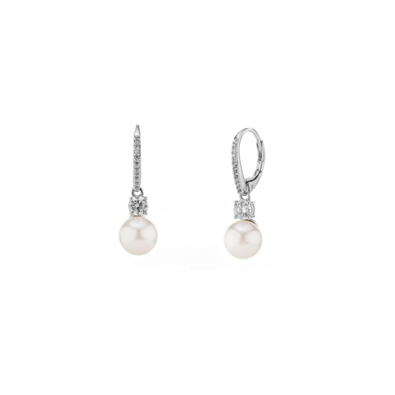Nadri Silvertone Pearl Drop Leverback Earrings