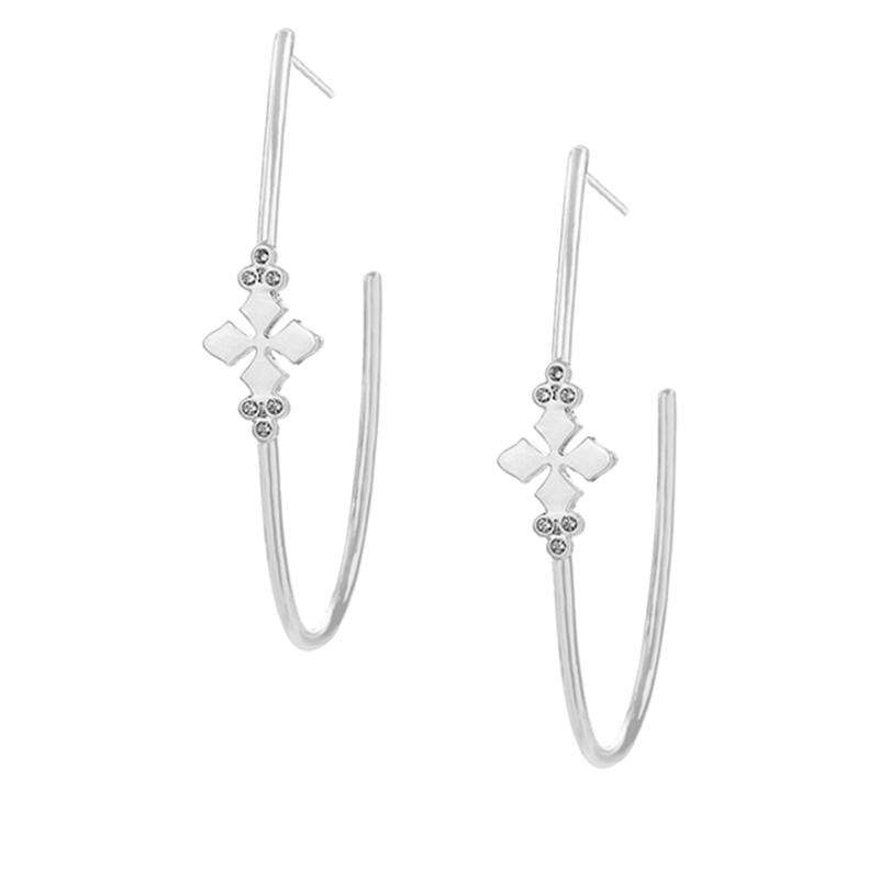"Natalie Wood Designs ""Believer"" Cross Hoop Earrings"
