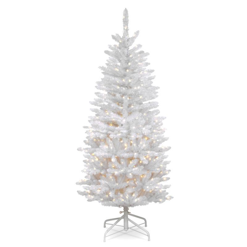 National Tree 4.5' Kingswood® White Fir Hinged Pencil Tree w150 Lights
