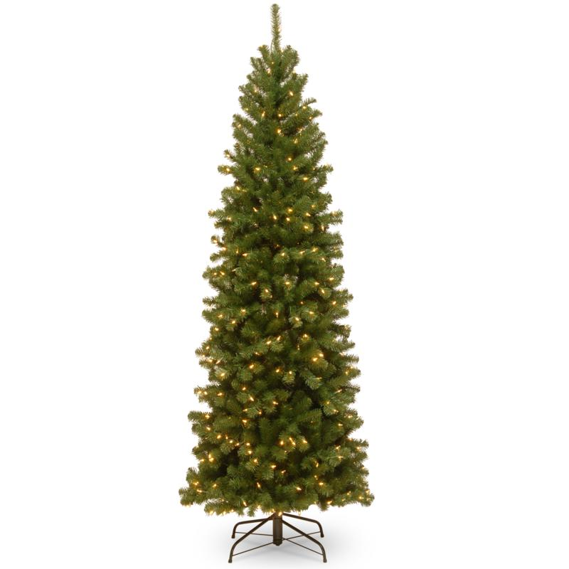 National Tree 7' North Valley® Spruce Pencil Slim Tree w/ Clear Lights