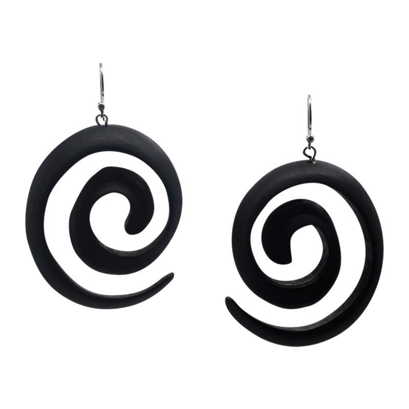 Natural Beauties Carved Ebony Wood Swirl Earrings