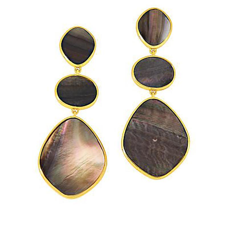 Natural Beauties Goldtone Sterling Silver Abalone Drop Earrings