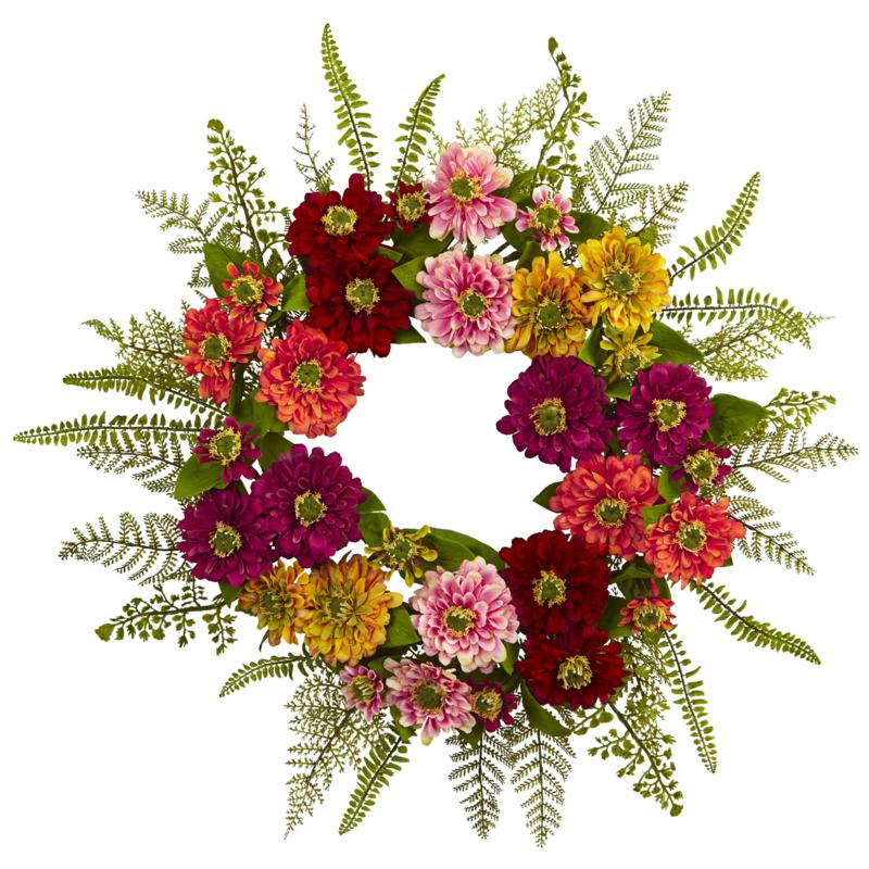 """Nearly Natural 20"""" Mixed Flower Wreath"""