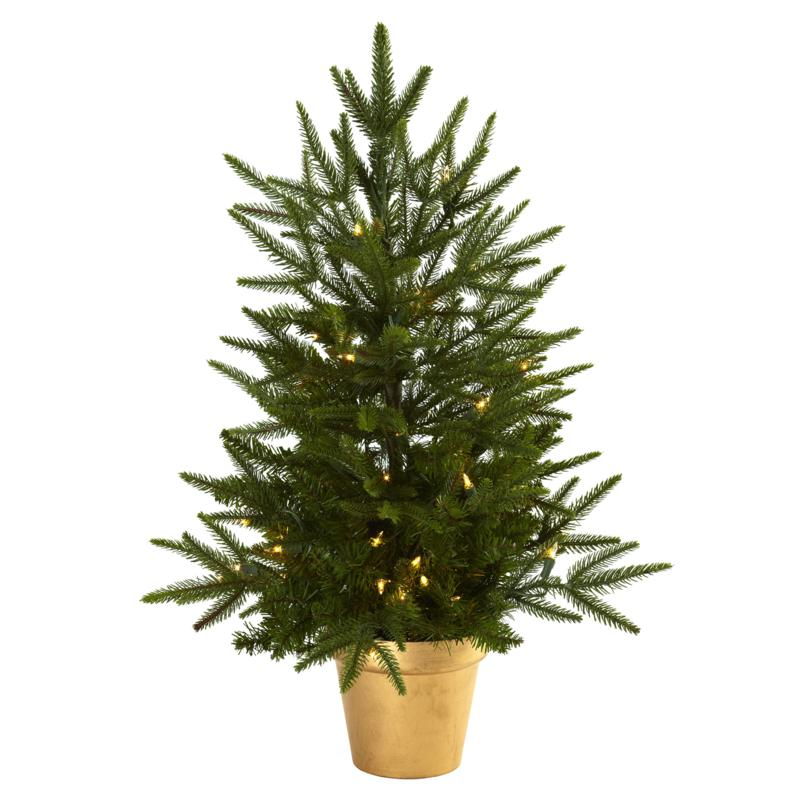 Nearly Natural 2.5-Ft. Christmas Tree w/Golden Planter & Clear Lights
