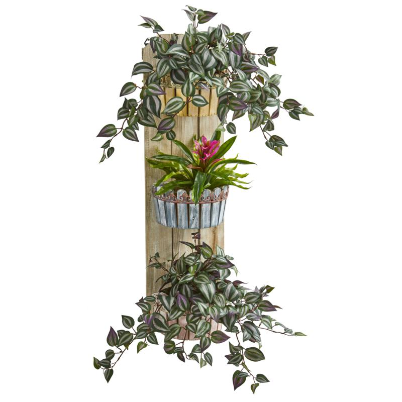 """Nearly Natural 39"""" Bromeliad and Wandering Jew 3-Tiered Wall Planter"""