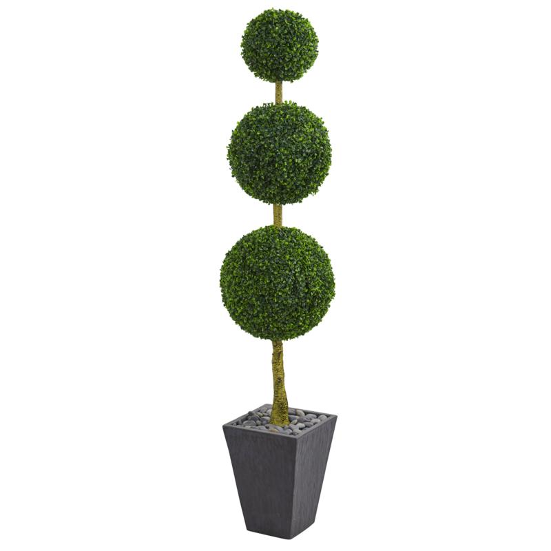 Nearly Natural 6 ft. Artificial Boxwood Triple Ball Topiary in Planter