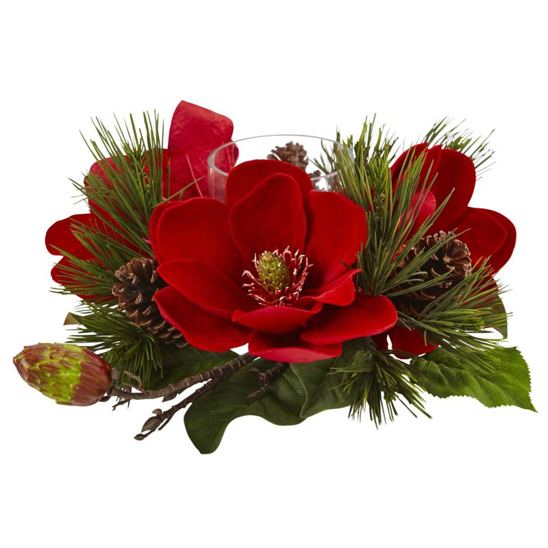 Nearly Natural Red Magnolia & Pine Candelabrum
