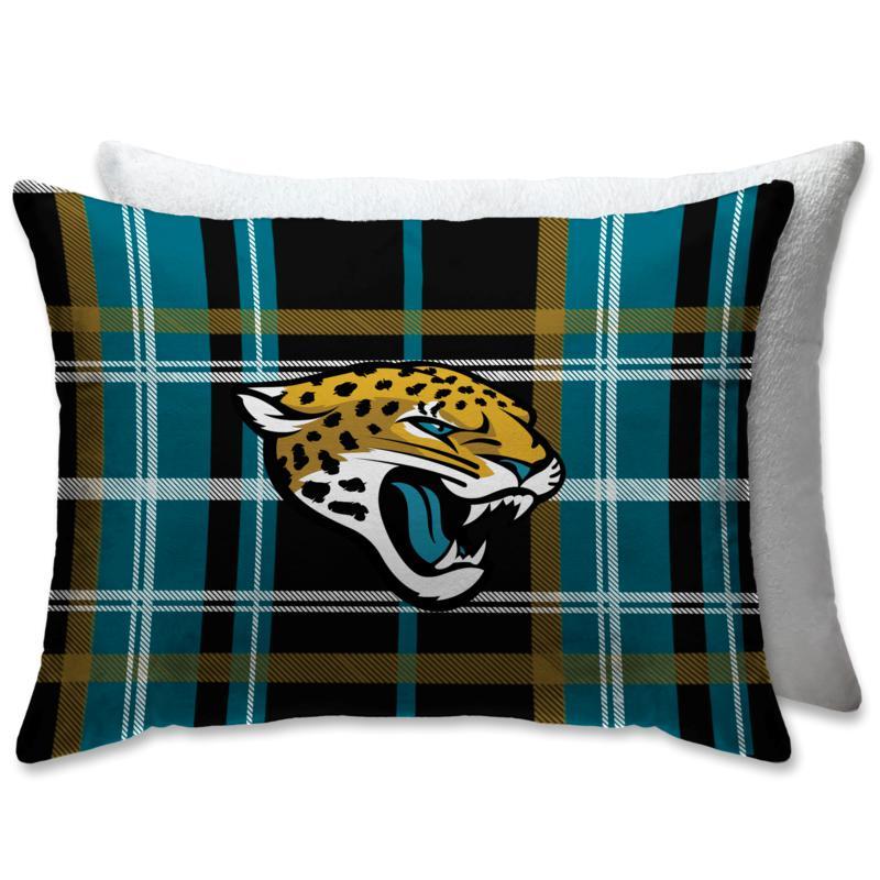 "NFL Plush Plaid Sherpa 20"" x 26"" Bed Pillow - Jacksonville Jaguars"