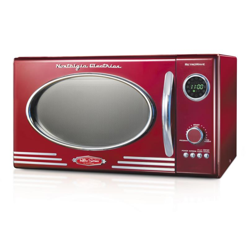 Nostalgia Retro 0.9 Cu. Ft. 800-Watt Countertop Microwave Oven - Red