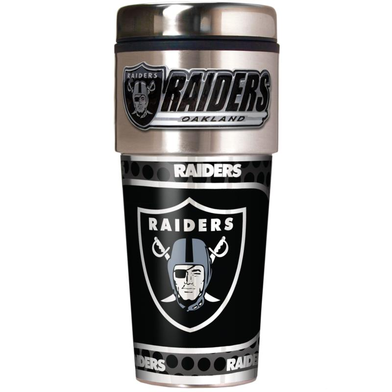 Oakland Raiders Travel Tumbler w/ Metallic Graphics and Team Logo