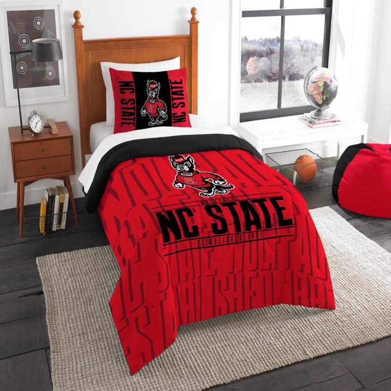 Officially Licensed NCAA Modern Take Twin Comforter Set - NC State