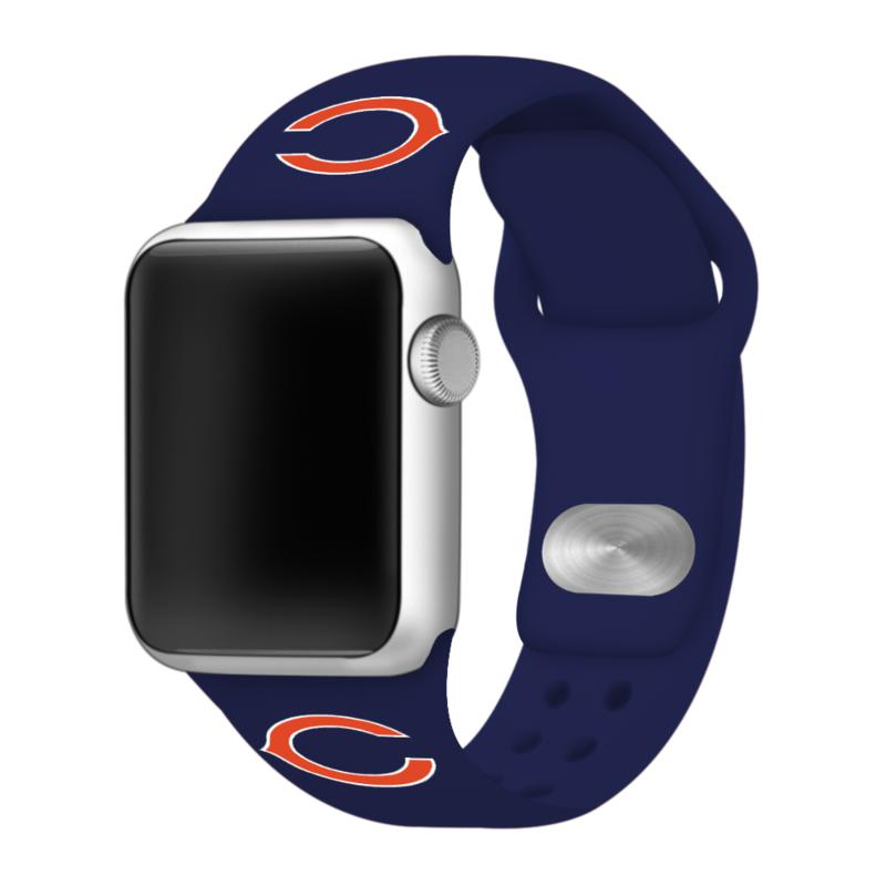 Officially Licensed NFL 42mm/44mm Apple Watch Med. Sport Band - Bears
