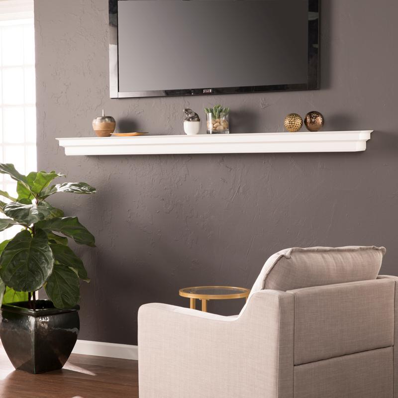 Olivar Fireplace Mantel Shelf - Traditional Style - White