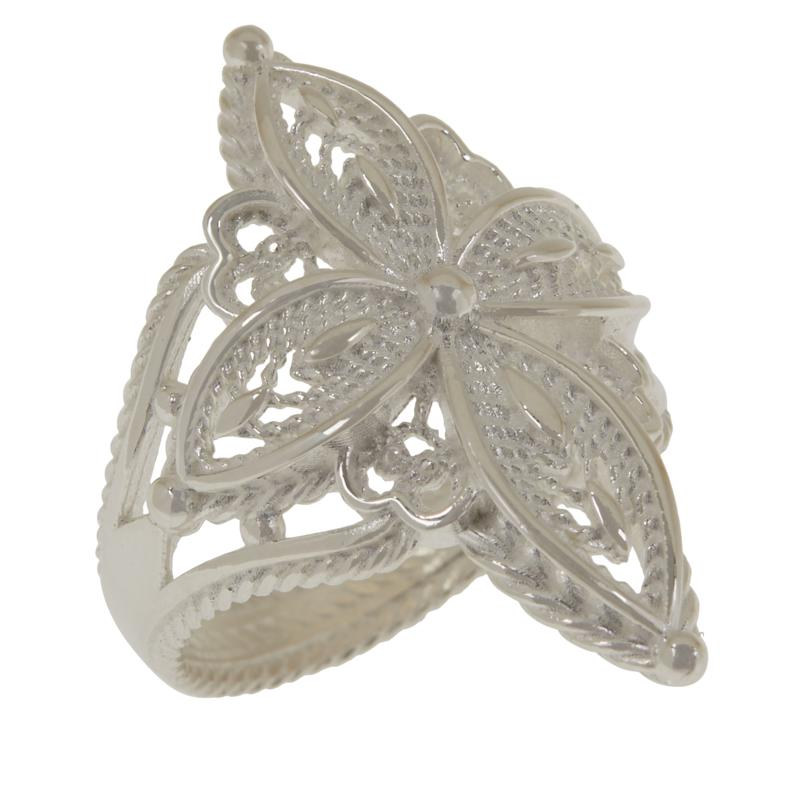 Ottoman Couture Sterling Silver or Gold-Plated Filigree Cross Ring