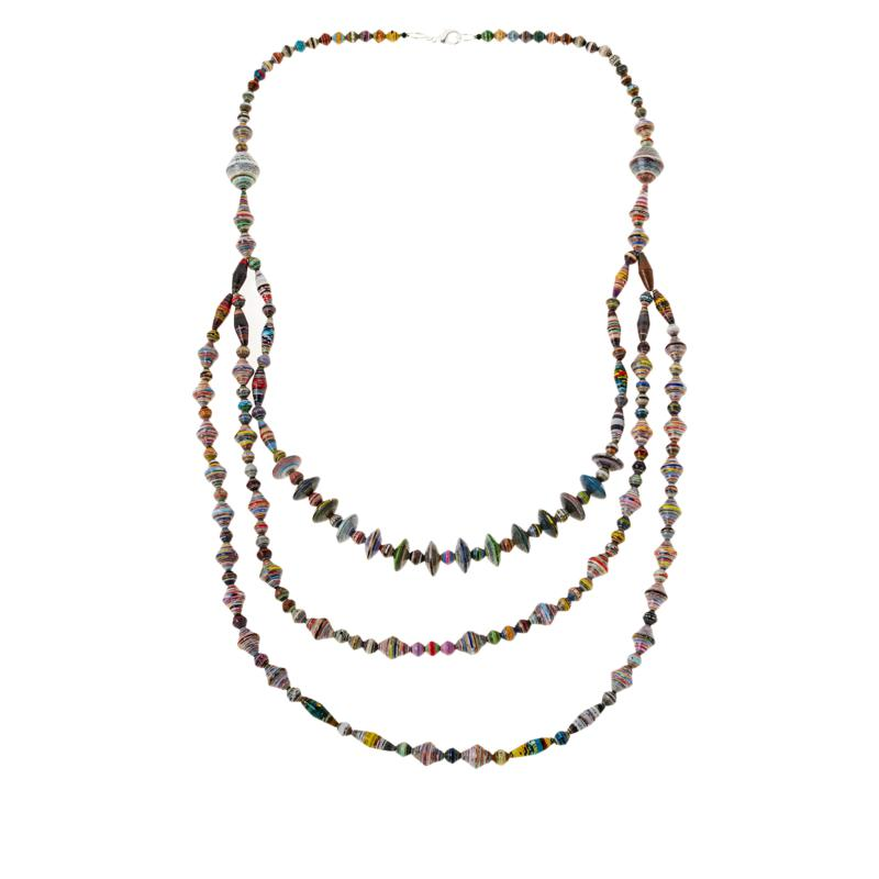 """Paper Beads by Janice Mae 30"""" Multi-Color 3-Row Necklace"""