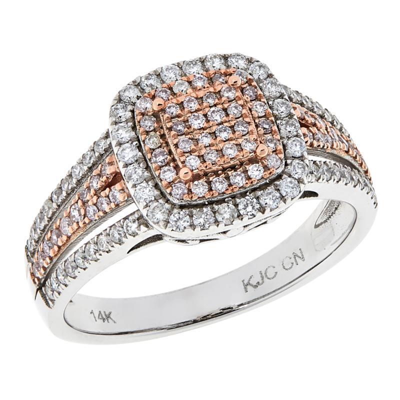 Passport to Gems 14K Gold .48ctw Pink and White Diamond Pavé Ring