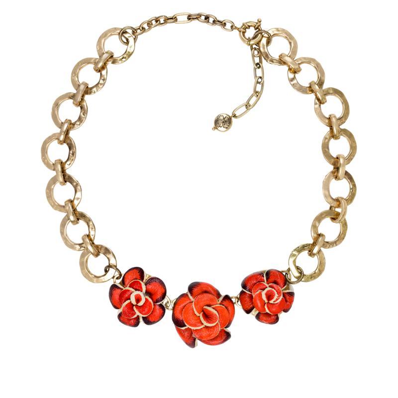 "Patricia Nash 21"" Juliete Leather Flower Station Necklace"