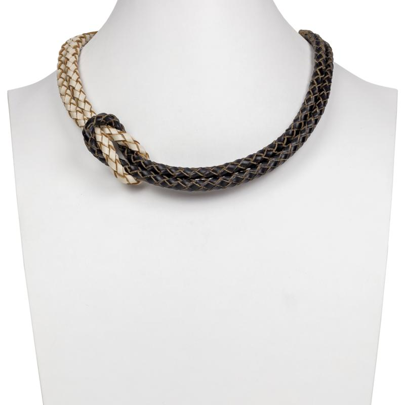 """Patricia Nash Camille 18"""" Braided Leather Knot Necklace"""