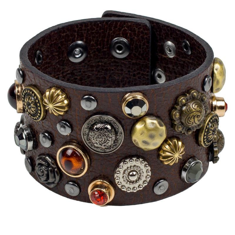 Patricia Nash Nerissa Multi-Stud Rustic Leather Cuff Bracelet