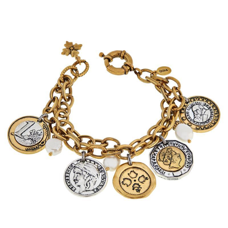Patricia Nash World Coin Double-Strand Dangle Bracelet