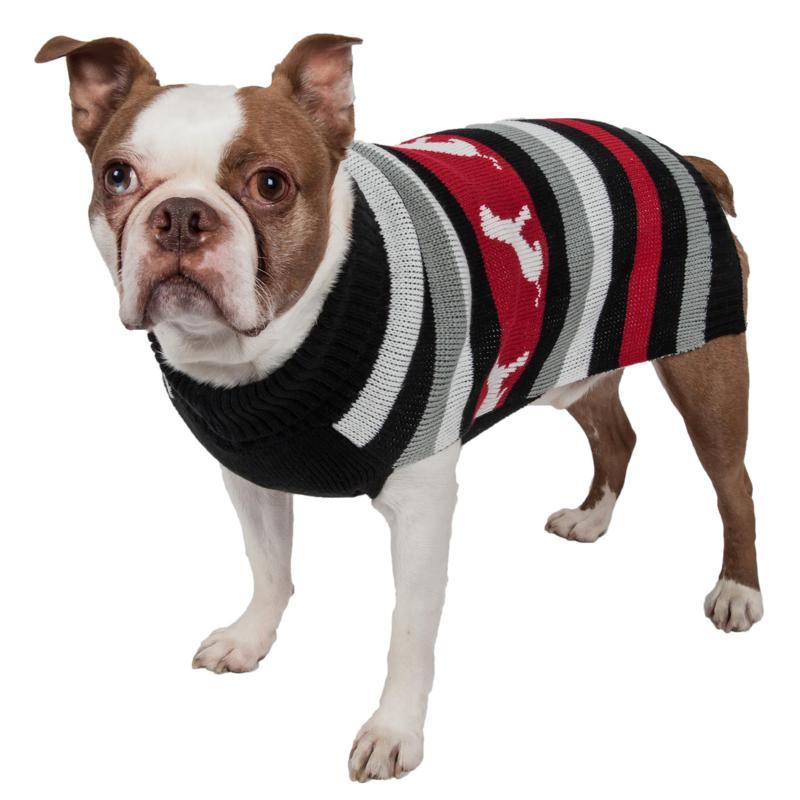 Pet Life Dog Pattern Stripe Ribbed Turtleneck Pet Sweater