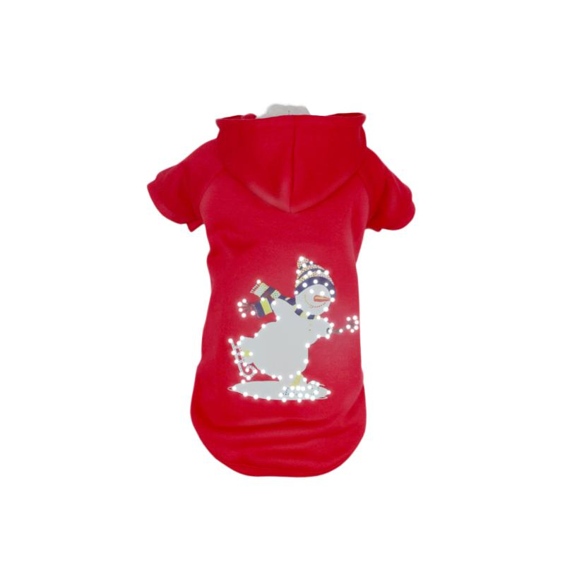 Pet Life LED Lighted Holiday Snowman Hooded Sweater Pet Costume