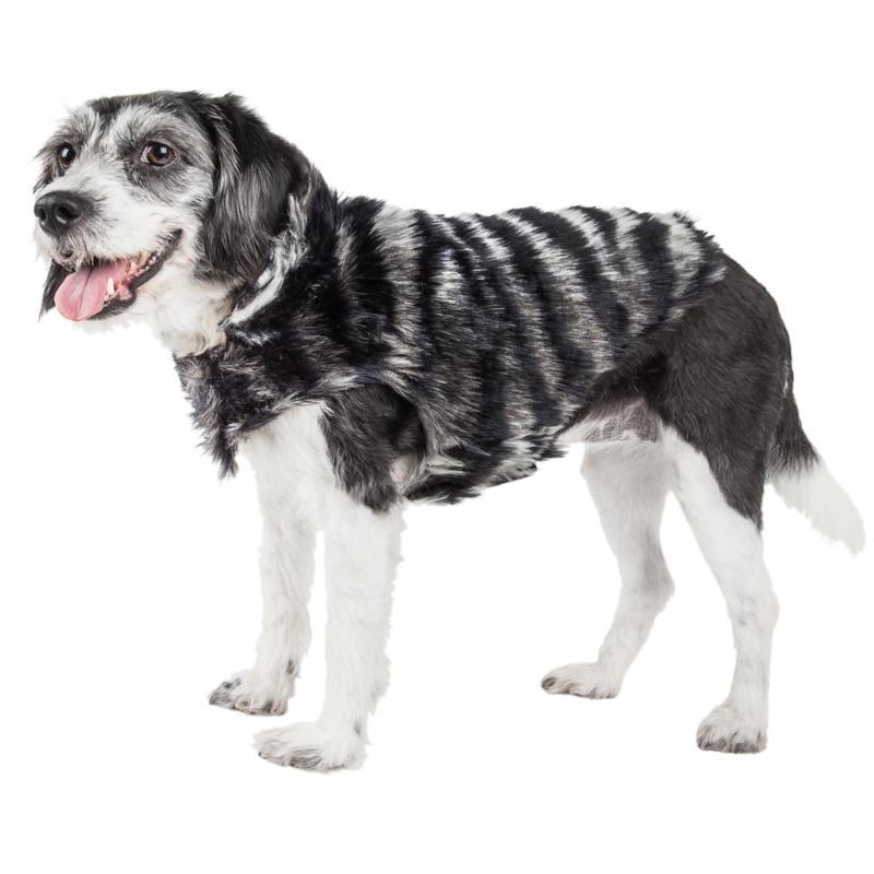 Pet Life Luxe Chauffurry Zebra Pattern Faux Mink Fur Dog Coat