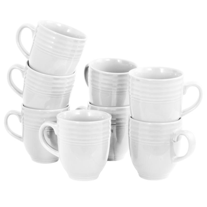 Plaza Cafe 15 oz Mug Set in White, Set of 8