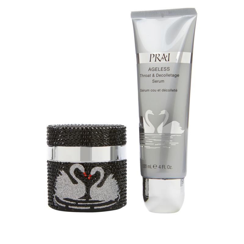 PRAI Ageless Throat & Decolletage Serum and Night Creme in Swan Jars