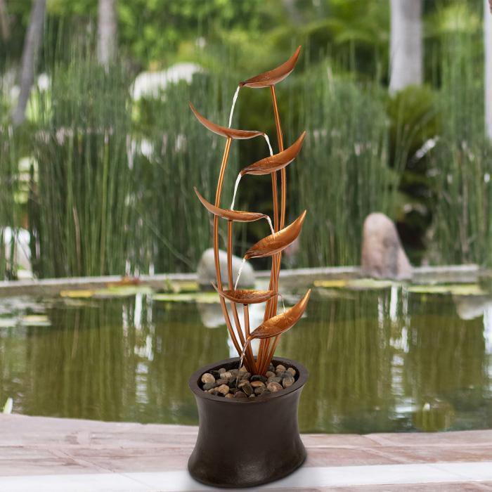 Pure Garden Modern Electric Outdoor 7-Tier Cascading Fountain