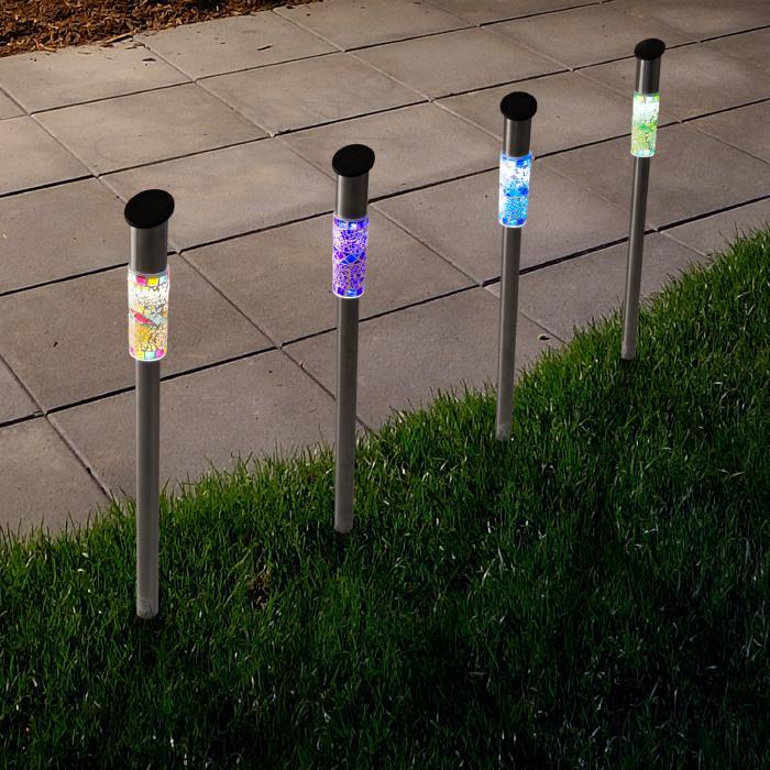 Pure Garden Solar-Powered LED Mosaic Lights Set of 4