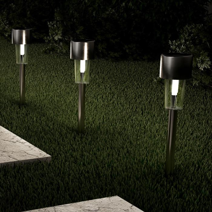 """Pure Garden Stainless Steel 12.2"""" Solar Path Lights 12-pack"""