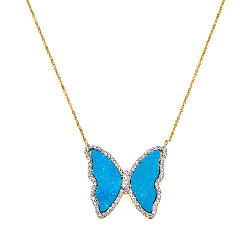 """Rarities 17"""" Gem and White Zircon Gold-Plated Butterfly Drop Necklace"""