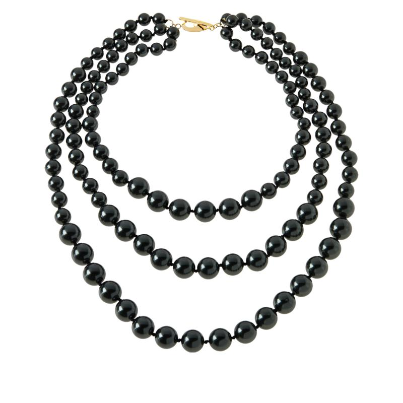 """Rarities 20-1/2"""" Gold-Plated Black Shell Bead 3-Row Necklace"""