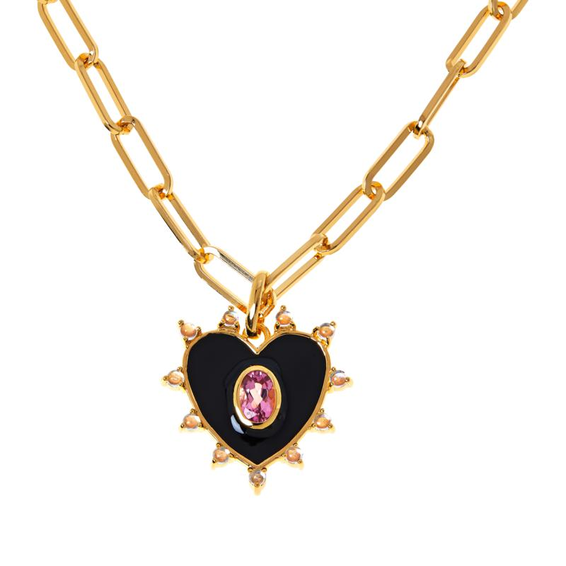 """Rarities 20"""" Gold-Plated Pink Tourmaline and Moonstone Heart Necklace"""