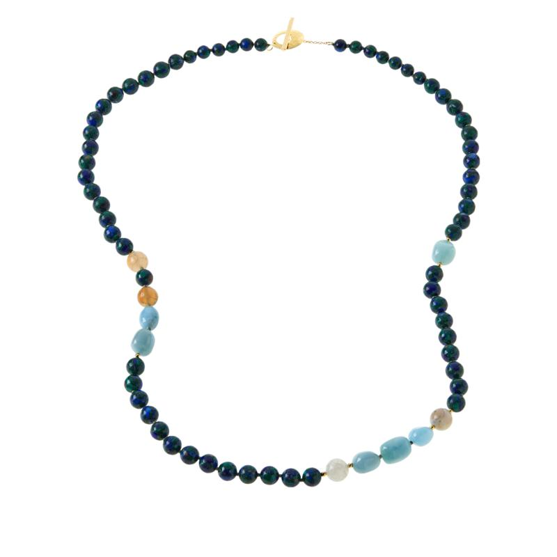 """Rarities 36"""" Gold-Plated Malachite-Lapis and Gemstone Beaded Necklace"""