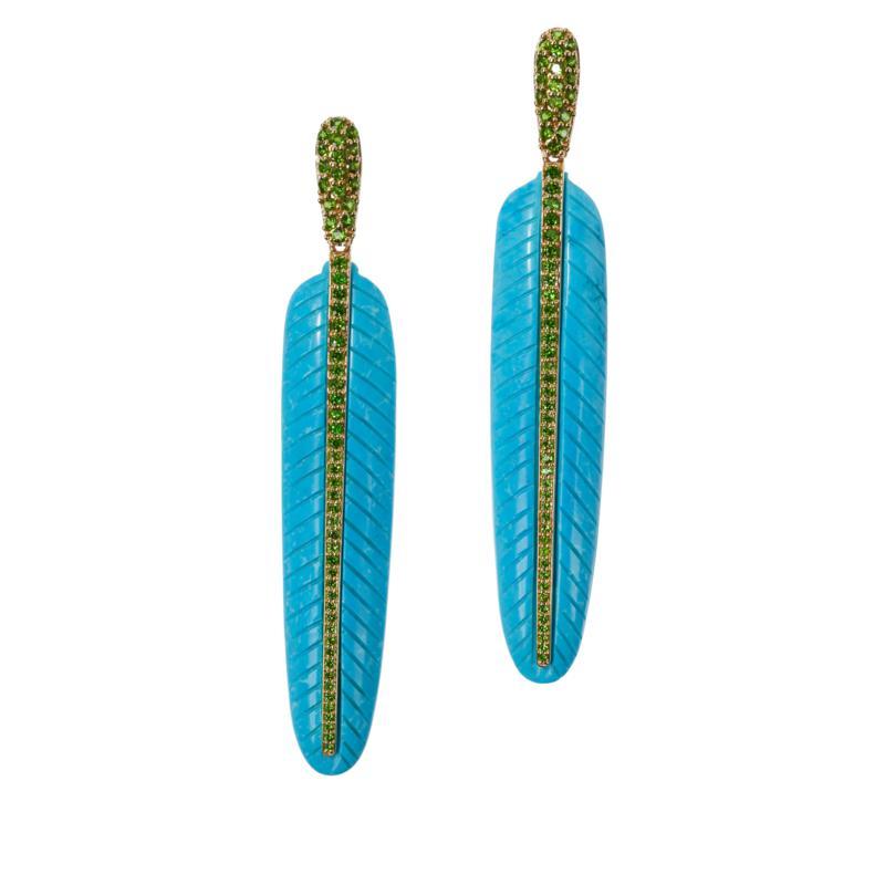Rarities Carved Gemstone Feather Drop Earrings