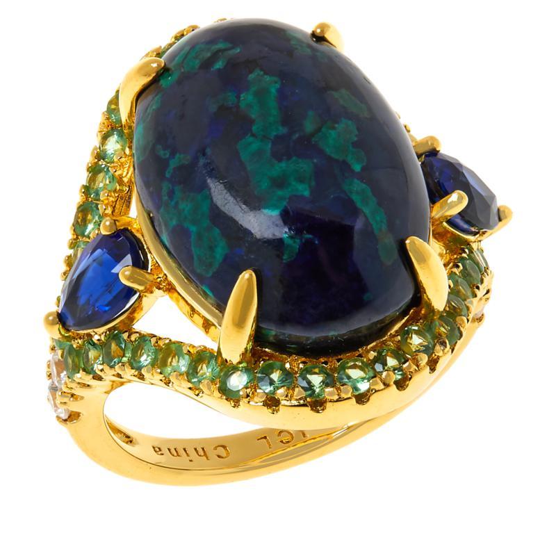 Rarities Gold-Plated Azurite Malachite and Multi-Gemstone Ring