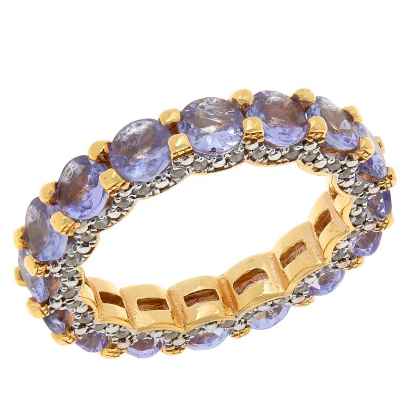 Rarities Gold-Plated Gemstone and White Zircon Band Ring