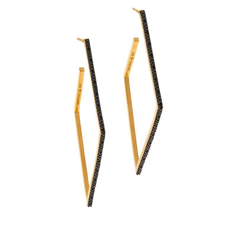 Rarities Gold-Plated Gemstone Angled Hoop Earrings