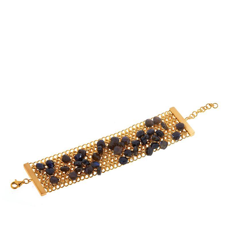 Rarities  Gold-Plated Gemstone Briolette Mesh Link Bracelet