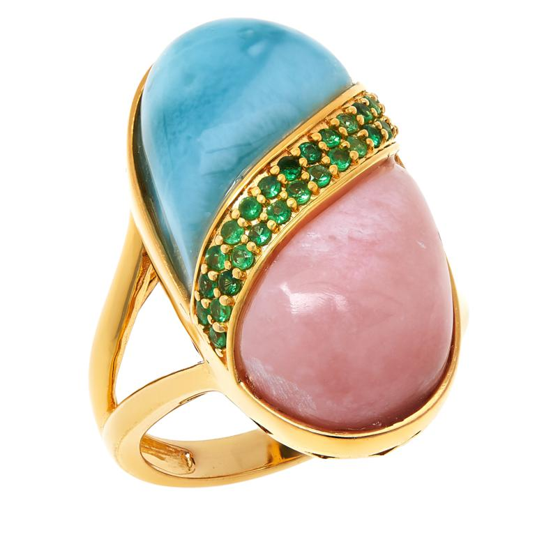 Rarities Gold-Plated Larimar, Pink Opal and Tsavorite Ring