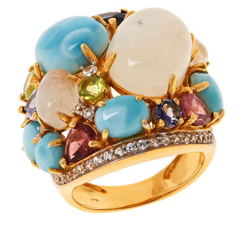 Rarities Gold-Plated Moonstone, Larimar and Multigem Ring