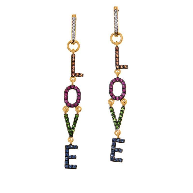 "Rarities Gold-Plated Multi-Gemstone ""Love"" Dangle Earrings"